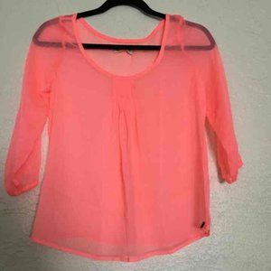 XS hollister neon pink blouse